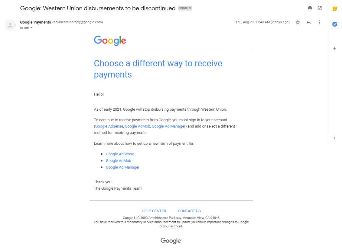 Google western union stop or shut down notice
